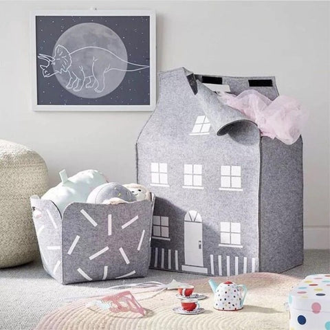 Nordic Felt House Storage Basket - Cozy Nursery