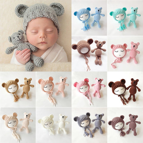 Newborn Knit Hats and a Bear toy set