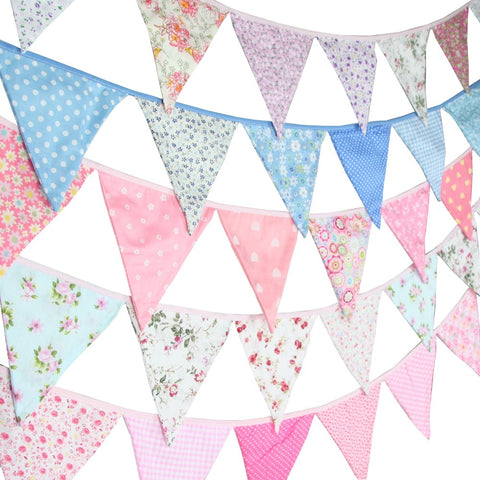 Vintage Fabric Cotton Bunting Garland 12 Flags 3.2M - Cozy Nursery
