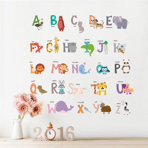 Jungle Animals 26 letters alphabet wall stickers - Cozy Nursery