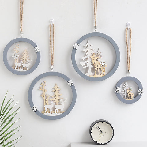 Nordic Wooden Home Decoration Hanging Ornaments Christmas Nursery Decor