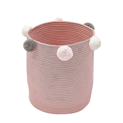 KIds Woven Cotton Rope Storage Baskets with Pom-Poms