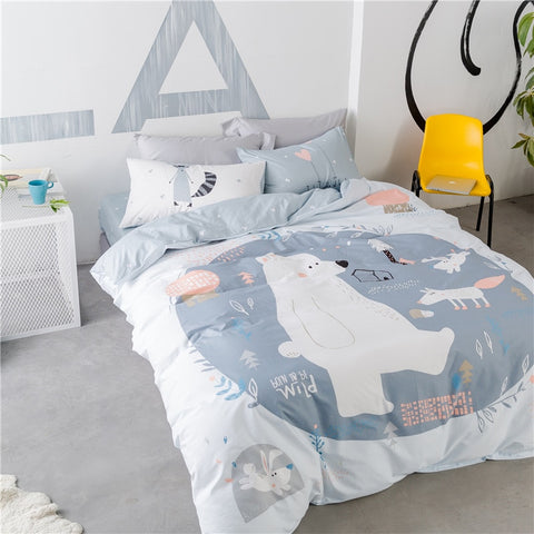 Bear and Fox Cotton Bedding Set Kids 4pcs - Cozy Nursery