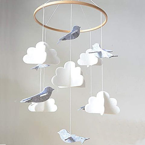 Baby Crib Mobile Birds & Clouds - Cozy Nursery