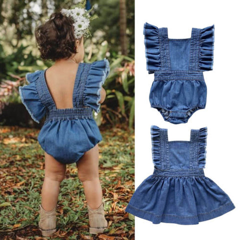 Matching Denim Ruffle Romper - Cozy Nursery