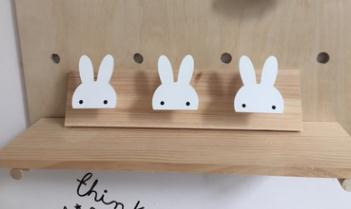 Nordic Style Nursery Decor Wooden Rabbit Wall Shelf Hook