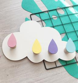 Nordic Style Nursery Decor Wooden Cloud Wall Shelf Hook