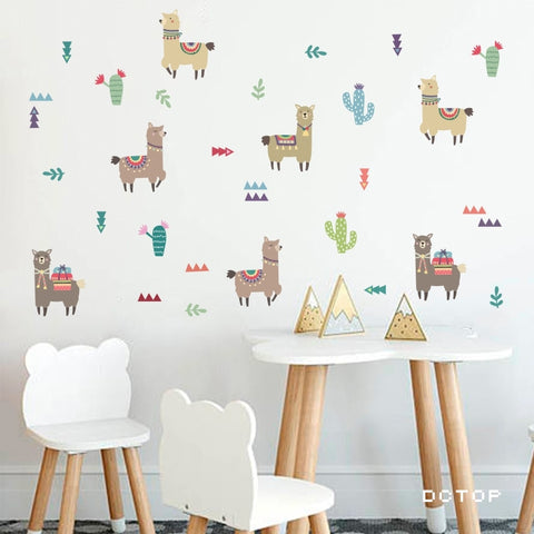 Cartoon Alpaca Llama Wall Stickers
