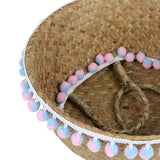 Seagrass Baskets with pom poms - Cozy Nursery