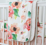 Coral Watercolour Floral Crib Bedding Set