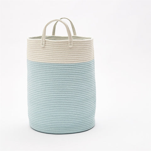 Woven Cotton Rope Storage Basket with Pom-Poms - Cozy Nursery