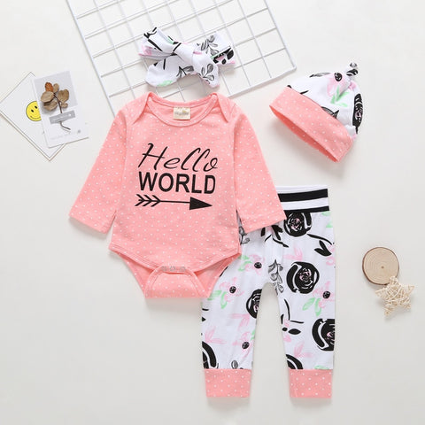 Hello World Romper + Pants + Headband