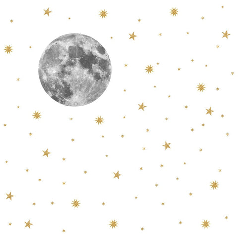 Moon and gold stars Wall Stickers - Cozy Nursery