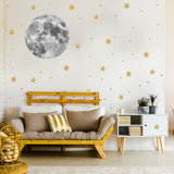 Moon and gold stars Wall Stickers