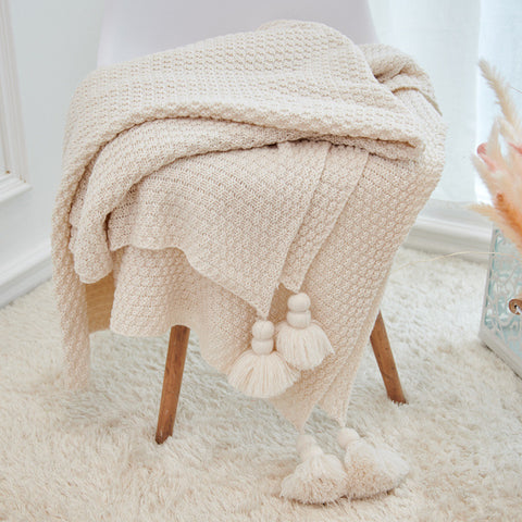 Large Knitted Blanket with Tassels 250x240 - Cozy Nursery