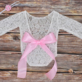 Newborn lace romper & hair band set - Cozy Nursery