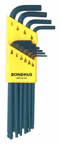 Bondhus 10938 Set of 10 Balldriver L-wrenches 1/16