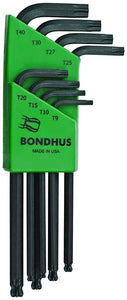 Bondhus 11332 Set of 8 BallStar L-wrenches T9-T40