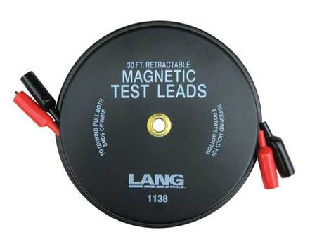 Lang 1138 Magnetic Retractable Test Lead - 2 Leads x 30ft