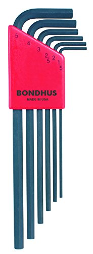 Bondhus 12146 Set of 6 Long Hex L-wrenches 1.5mm-5mm