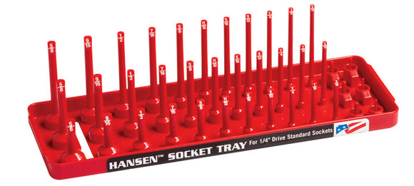 Hansen Global 14013 1/4″ Drive Fractional 3 Row Socket Tray - Red