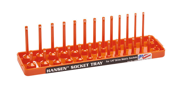 Hansen Global 1405 1/4″ Drive Metric Regular & Deep Socket Holder – Orange