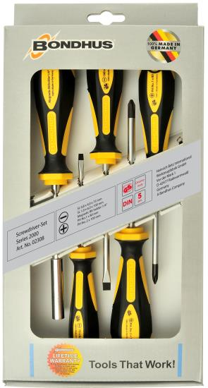 Bondhus 16758 2000 Series Screwdriver Set 5pc