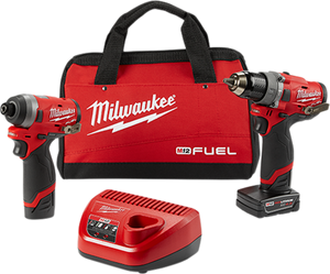 "Milwaukee 2598-22 M12 FUEL™ 2-Tool Combo Kit: 1/2"" Hammer Drill and 1/4"" Hex Impact Driver"
