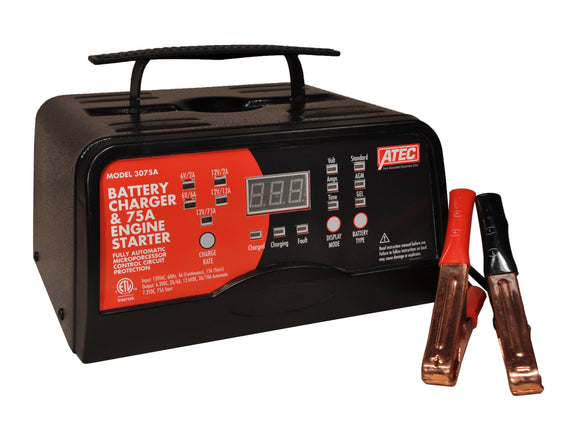 Associated Equipment 3075A Portable Smart Charger 6/12 Volt Full‐Rate Charger With 75A Engine Start