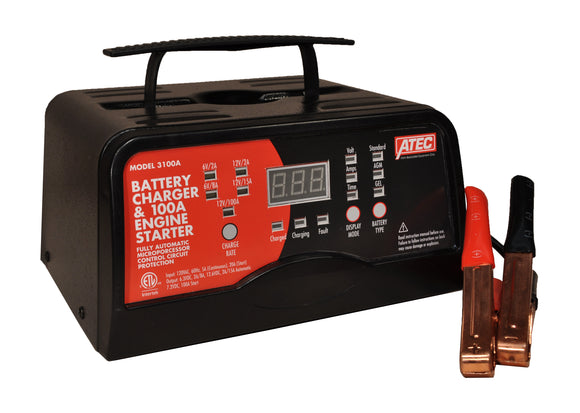 Associated Equipment Corp. 3100A Portable Smart Charger 6/12 Volt Full‐Rate Charger With 100A Engine Start