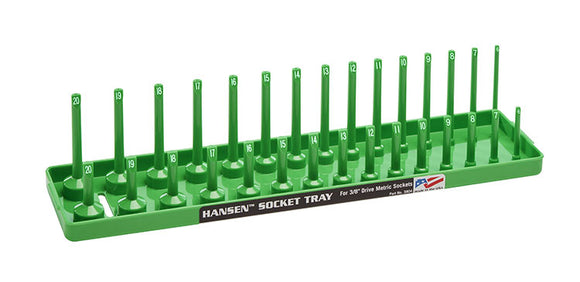 Hansen Global 3804 3/8″ Drive Metric Regular & Deep Socket Holder – Green