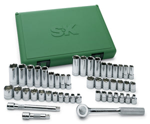 "SK 94547 - 47 Piece 3/8"" Drive 6pt SAE/Metric Chrome Socket Wrench Set"