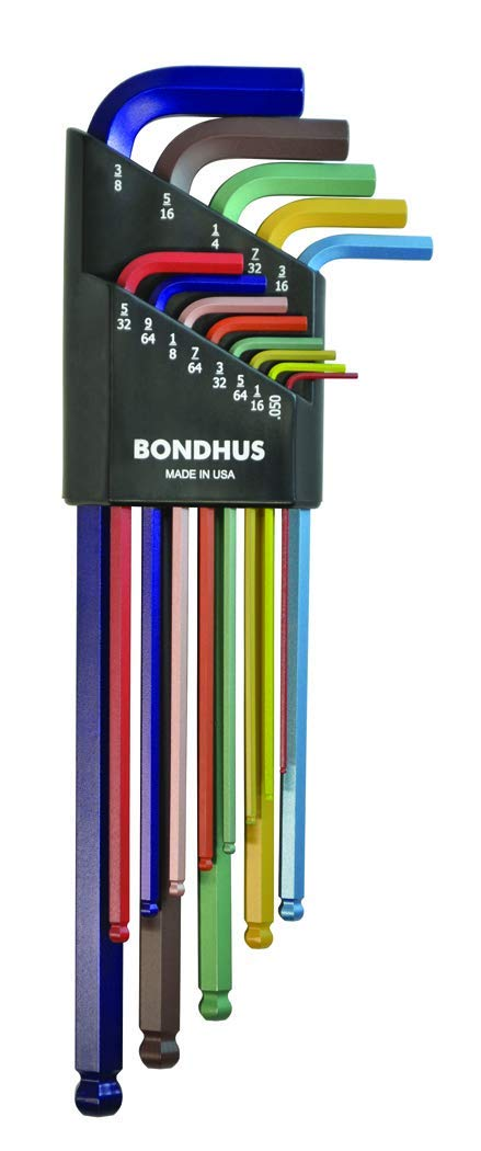 Bondhus 69637 Ball End L-Wrench Set with ColorGuard Finish .050-3/8