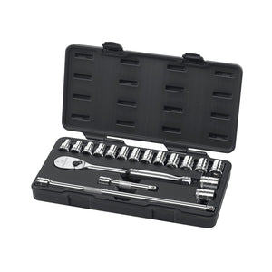 "GearWrench 80708 18 Pc. 1/2"" Drive 6 Point Standard Metric Mechanics Tool Set"