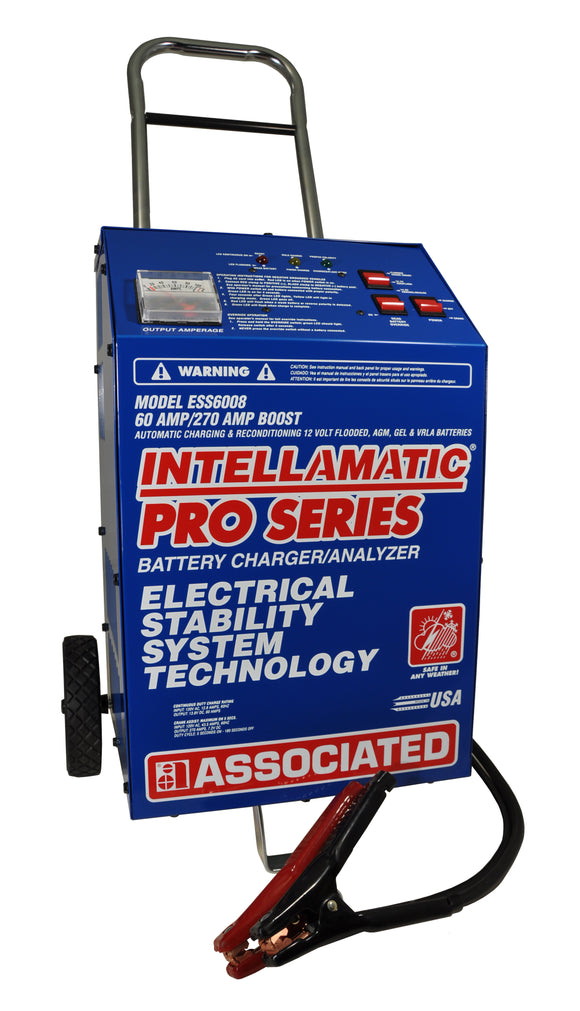 Associated Equipment Corp. ESS6008MSK Intellamatic® 12 Volt – 60 Amp/270 Amp Boost Wheel Charger & 70 Amp Power Supply
