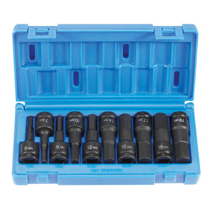 "Grey Pneumatic 1498MH 1/2"" Drive 10-Piece Metric Hex Driver Socket Set"