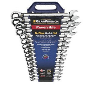 Gearwrench 9602 Metric 16-Piece Reversible Combination Ratcheting Wrench Set Bundle