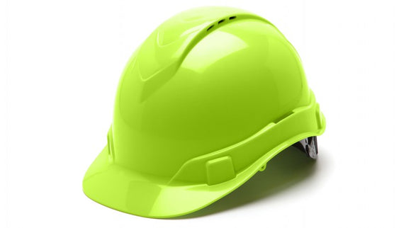 Pyramex HP44131V Hard Hat Hi Vis Lime Ridgeline Cap Style 4pt. Ratchet Suspension