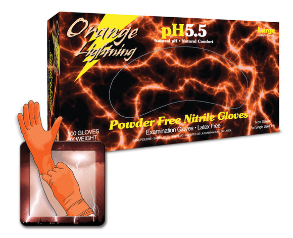 Atlantic Safety Products Orange Lightning Orange Nitrile Gloves
