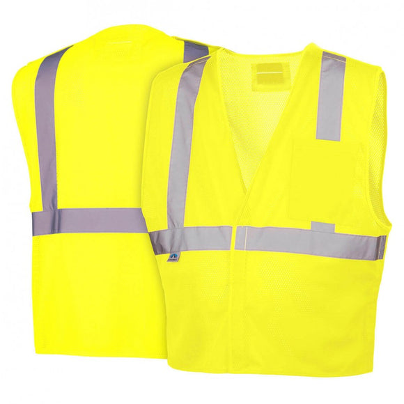 Pyramex Vest Hi-Vis Lime with 5 point D-Ring