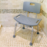 59001 Adjustable Bath Bench with Back in Shower Stall