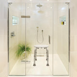 Adjustable Bath and Shower Stool in a shower stale