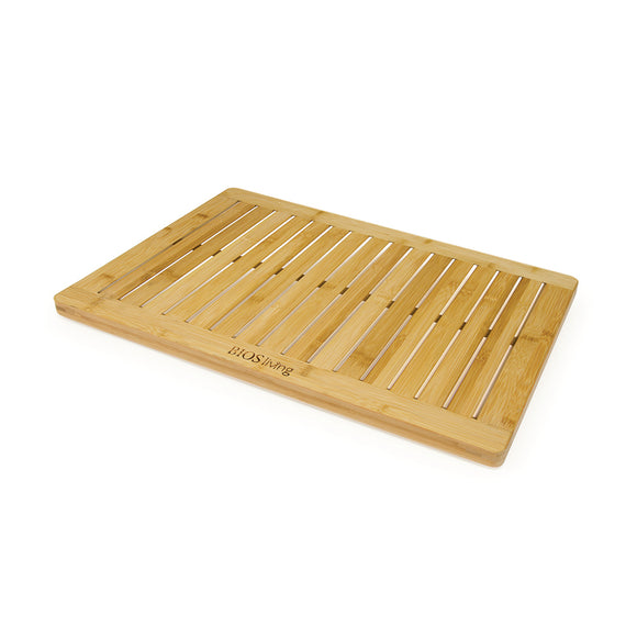 Bamboo Shower Crate Mat on angle