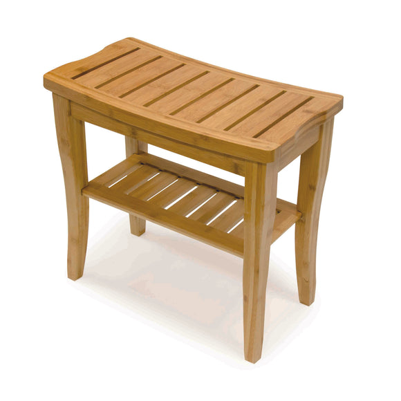 Bamboo Shower Bench on angle