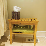 Bamboo Shower Bench with tissue and a towel