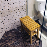 Bamboo Shower Bench in a shower stall