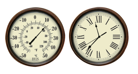 Decorative Thermometer and Clock Set