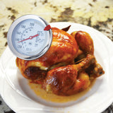 DT159 Dial Meat & Poultry Thermometer checking the temperature of a cooked chicken