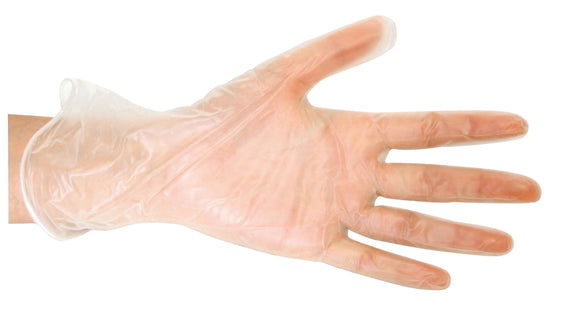 Disposable Grade Clear Vinyl Glove on hand