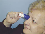 Blue Eye Ease with Eye Drop Solution being used